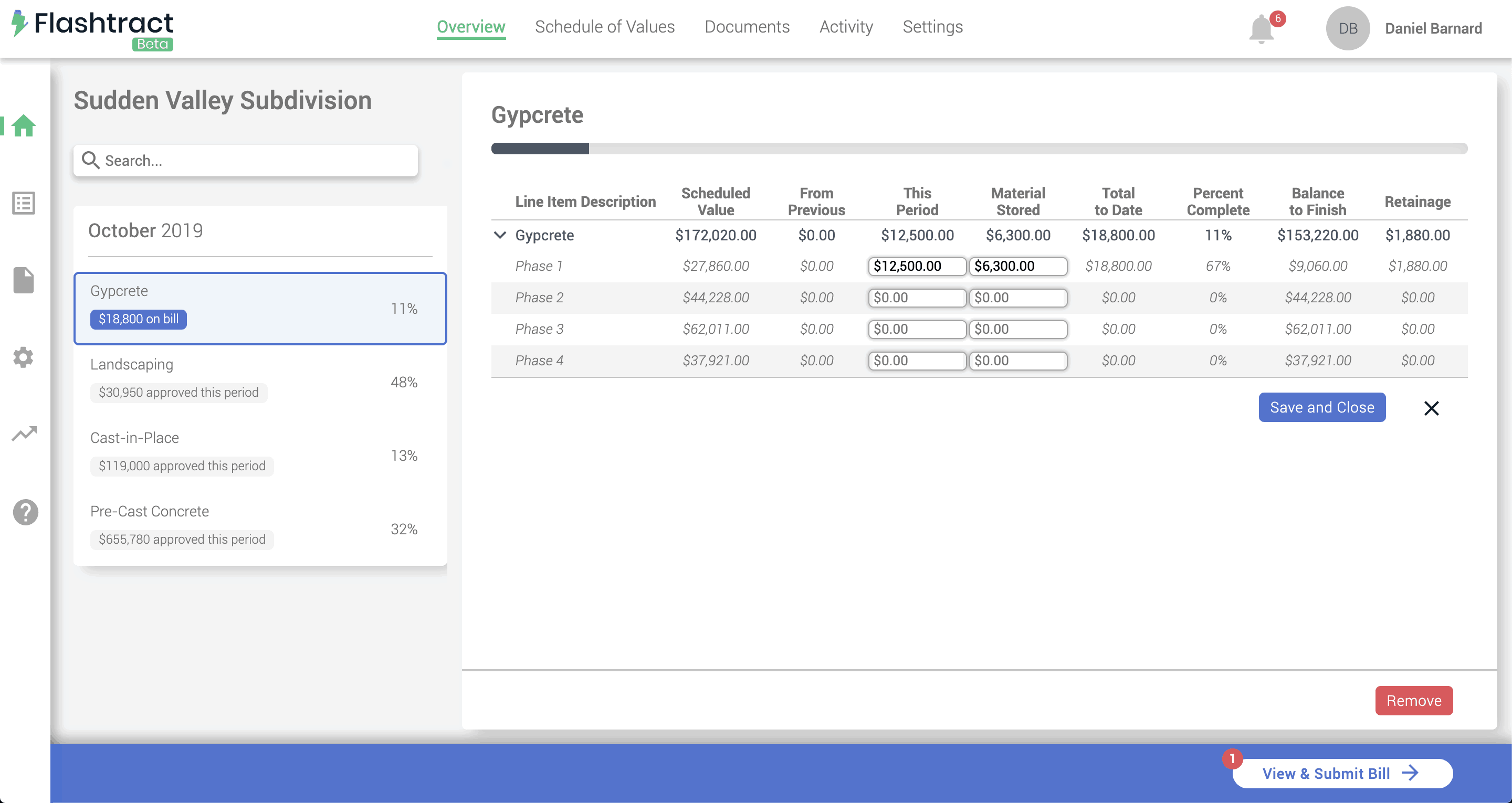 Construction invoicing software billing information